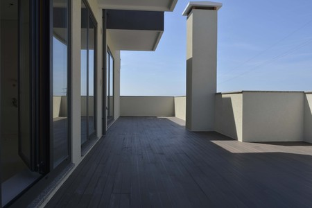 penthouse: View of a Penthouse Apartment, Terrace and Blue Sky Stock Photo
