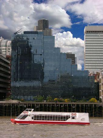 modern building, city, river, merchant, passenger ship, blue sky, clouds