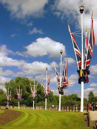 Great Britain, the United Kingdom falgs near Buckingham Palace