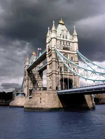 Tower Bridge by cloudy day. river thames