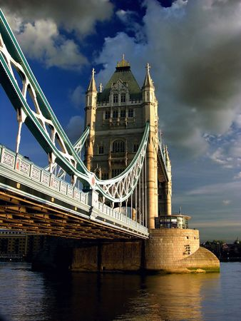Tower Bridge by cloudy day, river thames Stock Photo