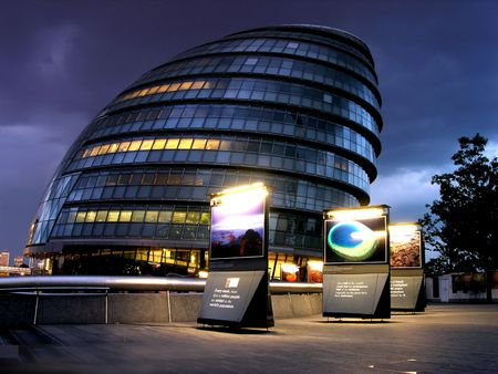 London modern building in city by night Stock Photo