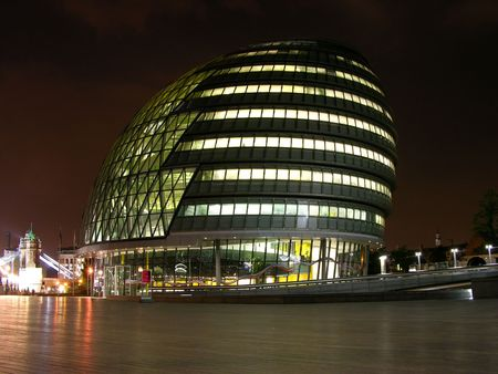 London modern building by night