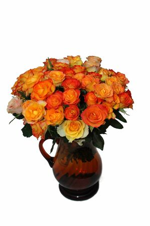 Bouquet orange and red Rose, petal,