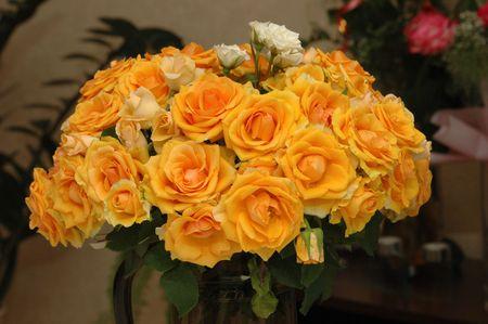 vase bouquet orange and yellow Rose, petal Stock Photo