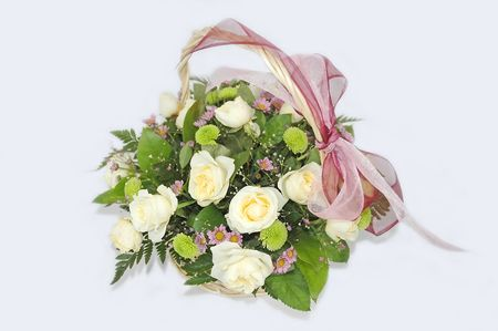 white roses wedding bunch, bouquet Stock Photo
