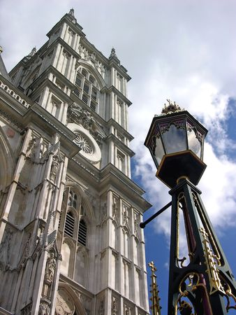 Westminster Abbey in London, blue sky, tower, lamp