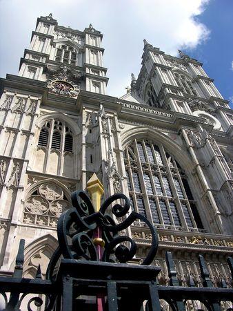 Westminster Abbey in London, blue sky, tower