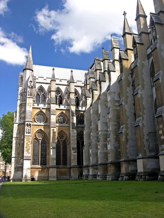 Westminster Abbey in London, blue sky Stock Photo
