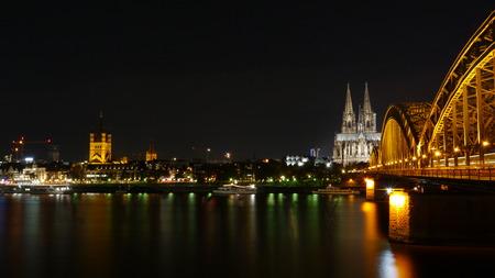 cologne: Cologne bridge at night Stock Photo