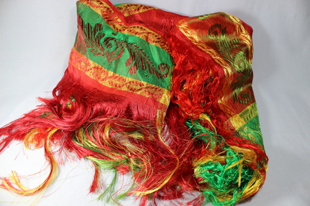 traditional Amazigh silk headkerchief gold lmechbouh.with three colors; red, yellow and green