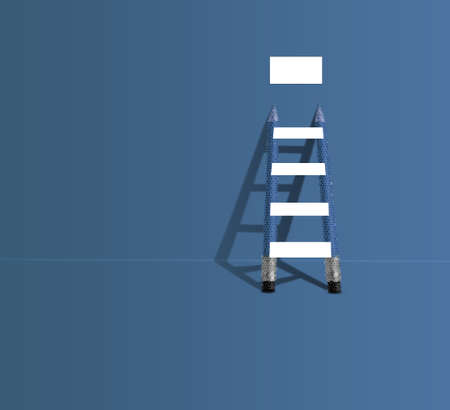 ladder made by pencil and white banner. steps to success concept