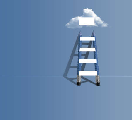 ladder business concept with cloud an empty banners Zdjęcie Seryjne