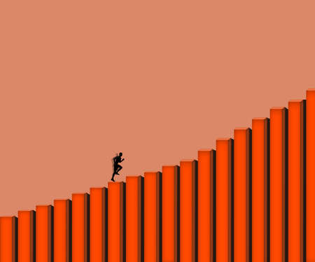 young man runnig to thr top stair: career way concept businessman mindset