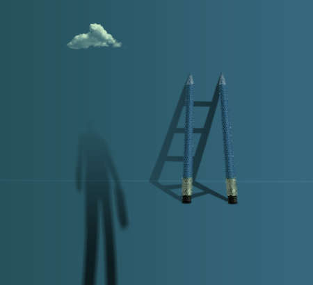 business vision creative concept: businessman standing front a pencil ladder with 3d stepladder shadows
