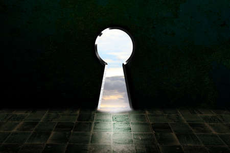 Open key hole in dark room, light through the opened keyhole, dreaming, think big and surreal illustration concept