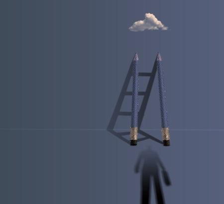 business man' shadow climbing ladder to success