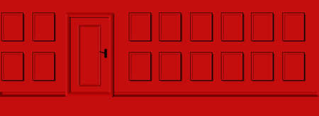 panorama red wall door and emty frames photos, 3d design, horizontal abstract for portofolio or gallery Stockfoto - 162652703