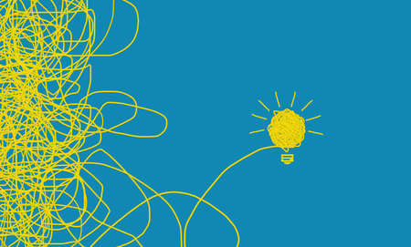 yellow tangle light bulb concept idea. blue background, conceptual ideas business, complicated to simple, hard to easy way, founder Ideas and resolving problems