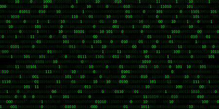 Abstract green binary code background with 0,1 digit in dark background. Number light with different opacity, futuristic computer digital illustration Banque d'images