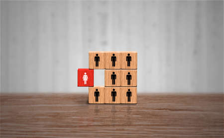 Remarkable business woman concept. Unique Red wood block with female figure icon. Businesswoman Leadership and individuality concept. Banco de Imagens