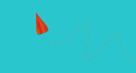 One direction and one red paper plane pointing in different way on blue sky background. Business for innovative solution concept