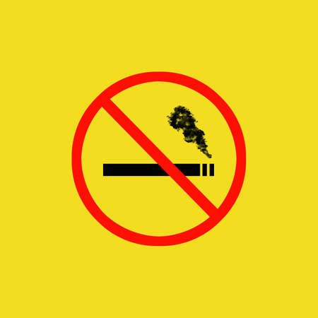 no smoking sign isolated on yellow background