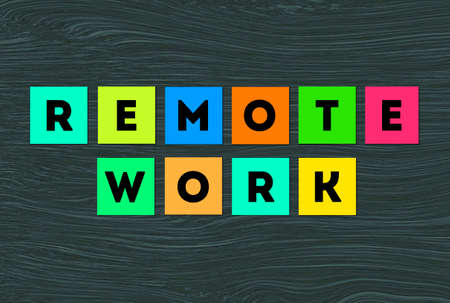 remote Work lettering Words in colorful block paper note, Remote work notepad