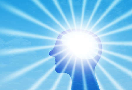 Sunrays glow from Human Head, Mind energy and Power, positive thought and emotion, and Mental heath concept Stockfoto