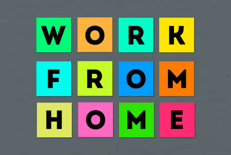 Work from Home text in paper note, colorful letters written in bloke note paper. working From house concept