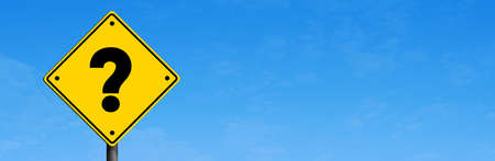 Yellow road sign with Question Mark in panoramic blue sky background. Business question concept idea