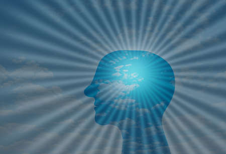 Brain Power concept positive thinking. Human Head in front of sun rays. positivity and mental health Stockfoto