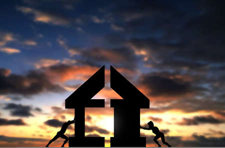Couple Connect Two Pieces of House To complete building it. Conceptual Photo of man and woman build a house, sunset sky background with conceptual people shiltuette