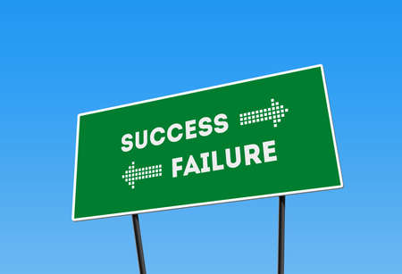 Success Failure Direction Billboard, green Street board with words failure and Success. conceptual image of success direction and failure direction. Stockfoto