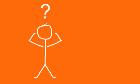 confused character with question mark on his head, orange background