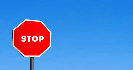 Stop road sign octagon in blue clear sky with copy space