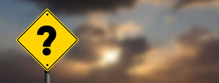 Question Mark road sign in panoramic Cloudy sky blur background. Business question concept idea