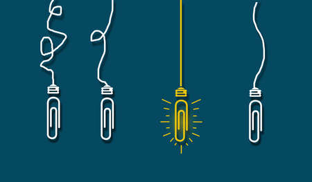 Paperclip Stand out concept, Standing out glowing light bulb or coupler from others. Light bulb glows, Creative ideas business success concept idea