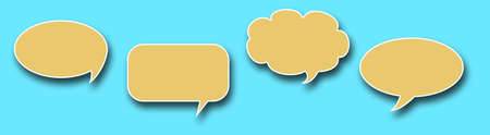 Empty yellow Speech Bubbles In Blue Sky Background, Three-dimensional bubbles talk with shadow. banner