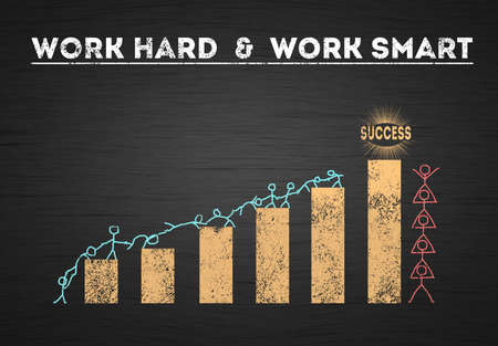 hard work vs smart work Teamwork success people. two Group of people with different vision to achieve success. Increasing Chart bar. Deferent Perspective concept