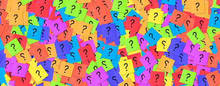 A large number of sticky notes with question mark. colorful background with many paper note blocks, Concept of Business question, help support and solution center