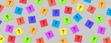 Many Question mark on grey background. Colorful Sticky Notes with questions marks. Business Question and solution concept abstract background