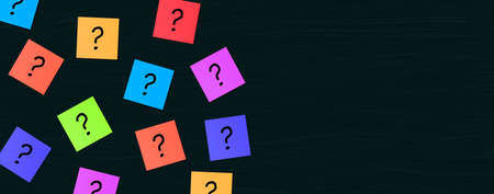 Many Question mark on wooden background. Colorful Sticky Note with questions marks. Business Question and solution concepts Stockfoto