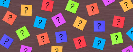 Many Colorful Sticky Note with question mark. Colored Block Notes Questions sign on wood background. Business Question, FAQ, and solution concept.