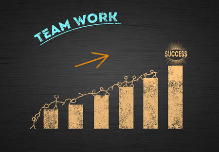 Teamwork success concept. Union of Figures Climbing A Chart bar By helping each other. Comveptuell illustration of Business Growth, Team work Achievement and Success process concept