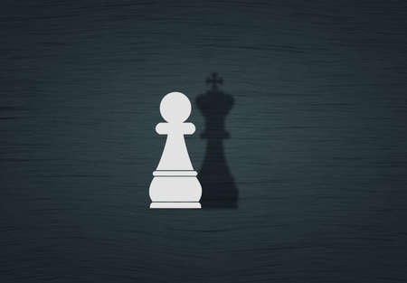 Chess pawn with king shadow, Dream and ambition business concept Stockfoto