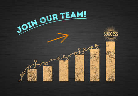 Join our successful business team concept. group of drawing people on Increasing Chart bar. Figure one help other . Teamwork Collaboration Concept