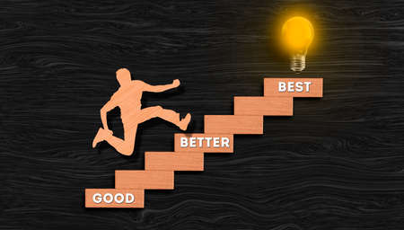 Good Better Best, businesswoman climbing stair graph with glowing bulb on top, Personal growth, success process and steps, dreams realization concept