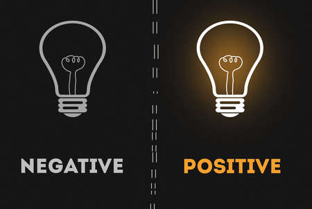 Negative thinking vs Positive thinking light bulb concept. dark background