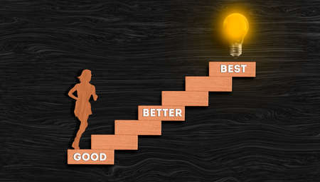 Businesswoman ascending stairway with light bulb glowing on top, Good Better Best, Personal growth, success process concept and dreams realization concept Stockfoto